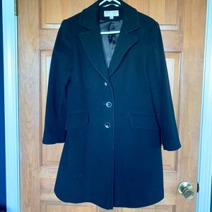 Larry Levine Black Lambswool/Cashmere Coat